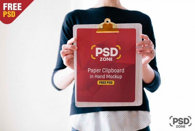 Paper Clipboard in Hand Mockup