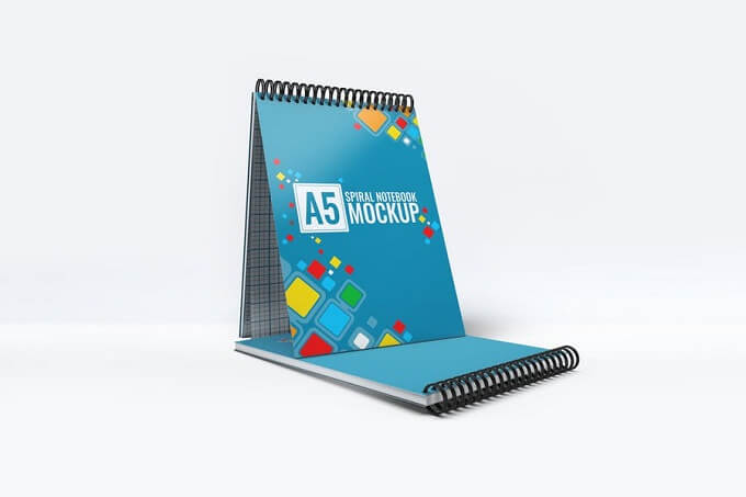 Photorealistic PSD A5 Spiral Notebook Mock-up