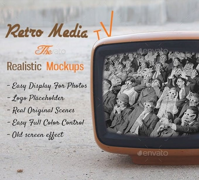 Realistic Retro Media Tv
