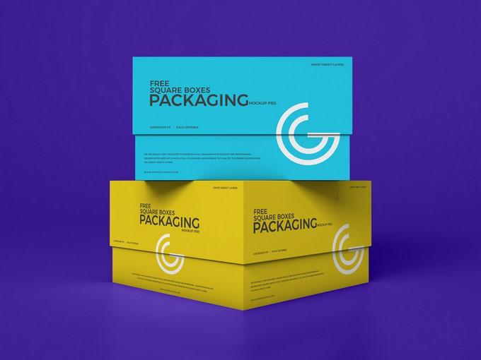 Square Boxes Mockup PSD