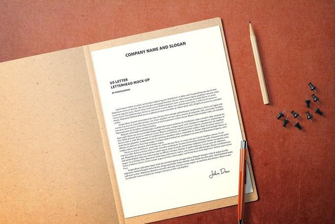 US Letter Letterhead PSD Mockup