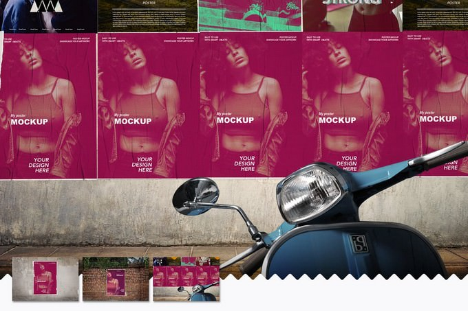 3 Poster Mockups PSD
