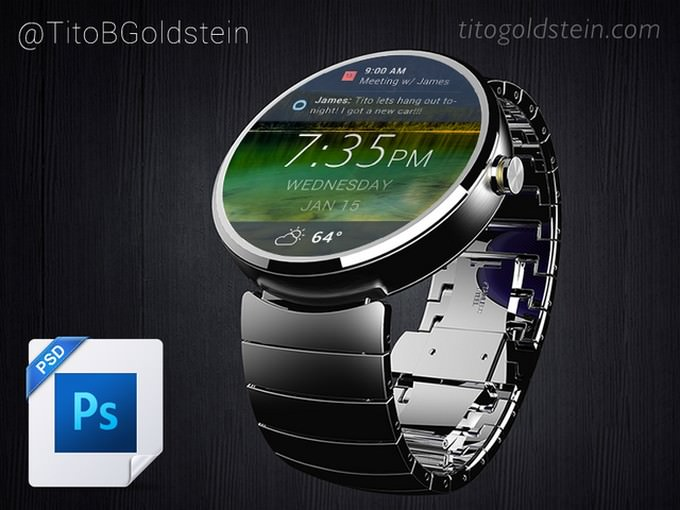 Android Wear - Wearable Mockup PSD