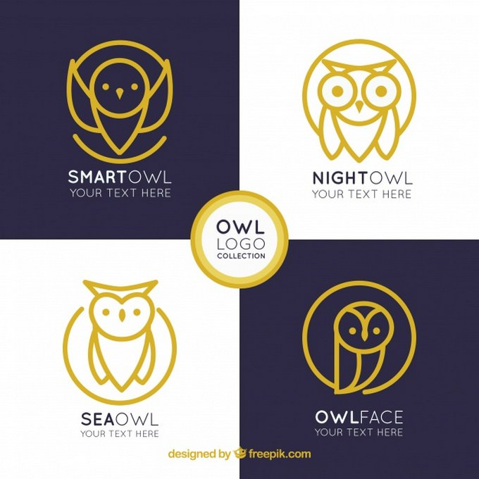 Elegant owl Logo Collection