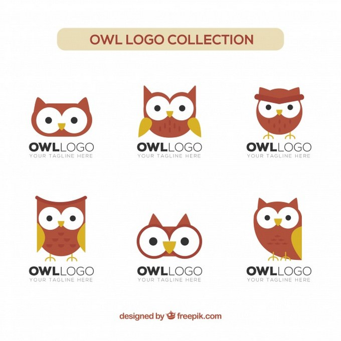 Flat owl Logo Collection