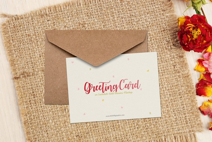 Greeting Card on Sackcloth With Flowers Mockup Free
