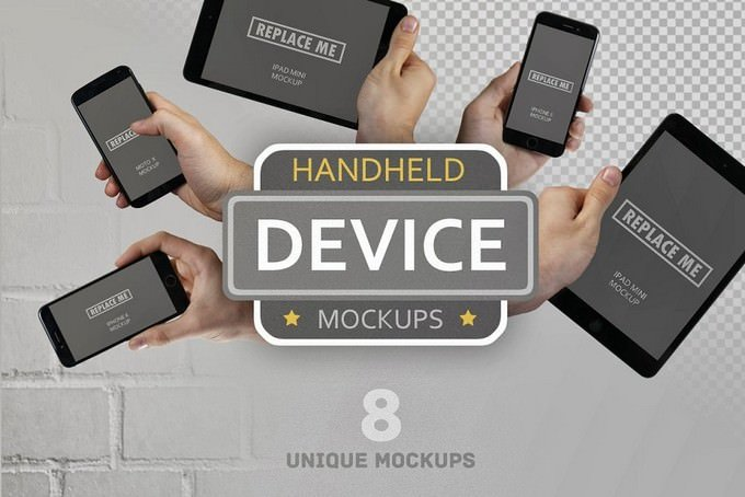 Handheld Digital Devices Mockup PSD