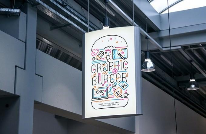 Indoor Advertising Poster MockUp PSD