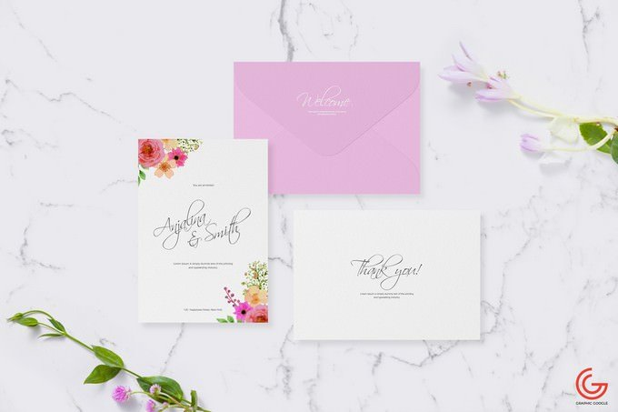Invitation Card Mockup For Wedding & Greetings