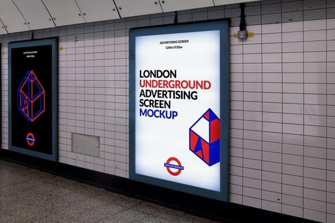 London Underground Advertising Screen Mockup PSD