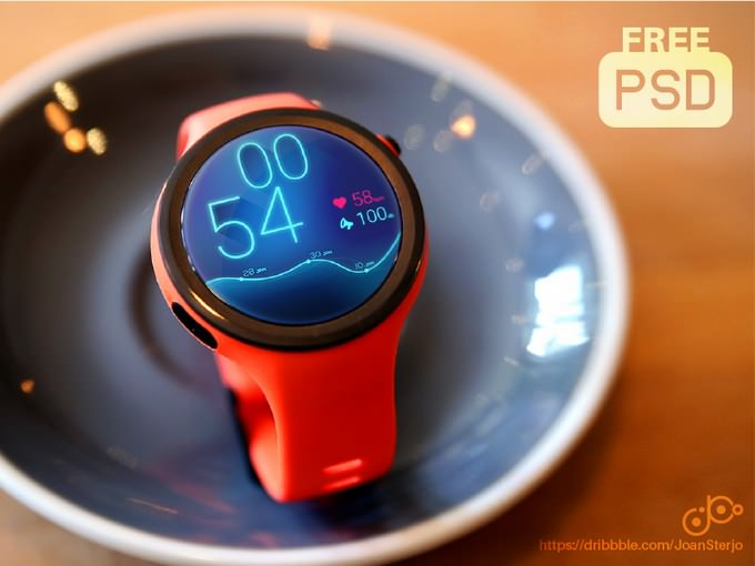 Wearable Device Mockup Moto360 PSD