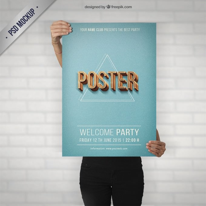 Party Poster Mockup Retro Style