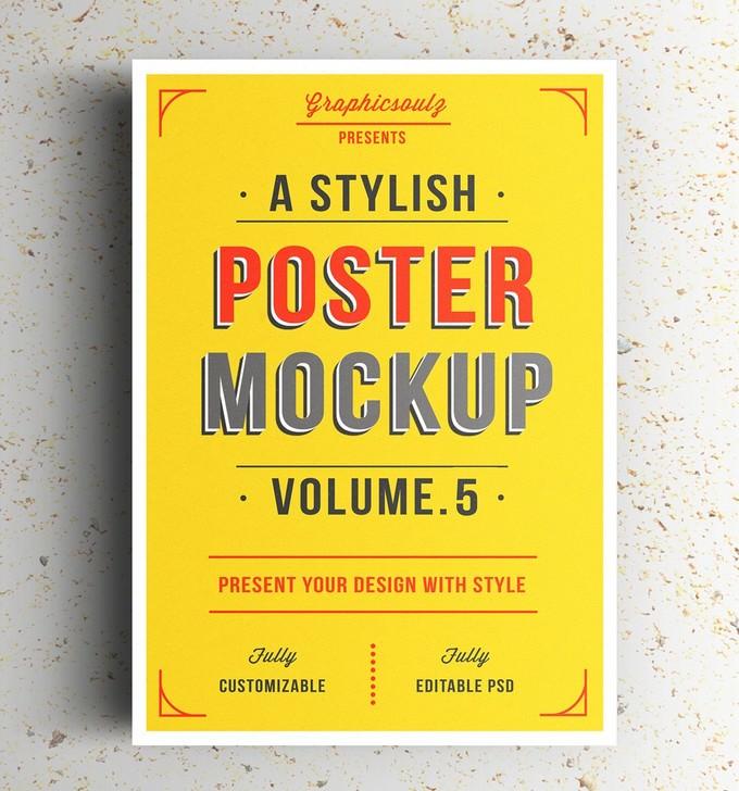 Poster Display Mockup PSD
