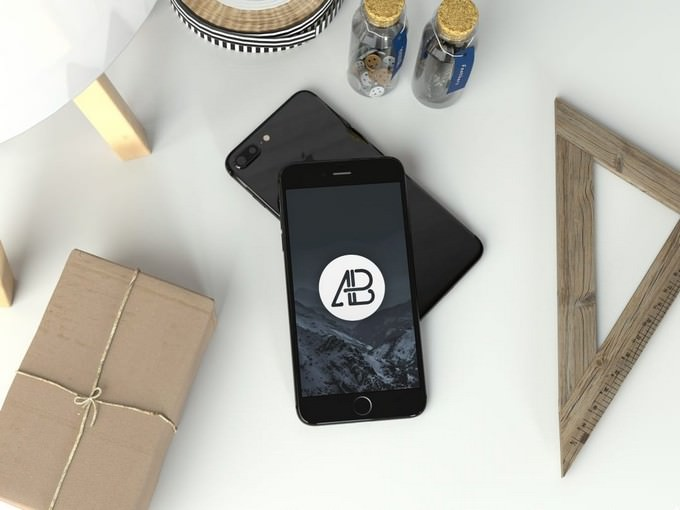 Realistic Jet Black iPhone 7 Plus Mockup Template