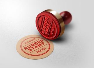 Realistic Rubber Stamp Logo Mockup
