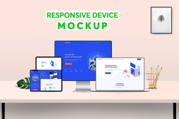 Responsive Digital Devices Mockup Template