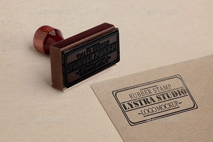 Rubber Stamp Logo PSD