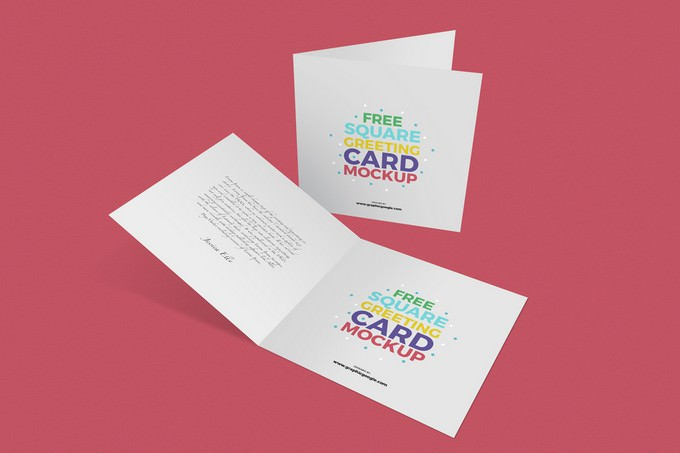 Square Greeting Cards Mockup PSD