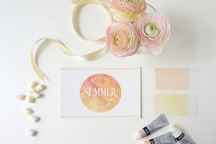 Summer Design Greeting card PSD