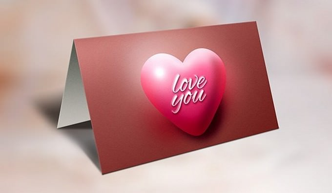 Valentine's Day Greeting Card and Mockup