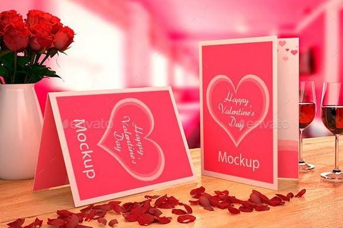 Valentine's card Mockup PSD