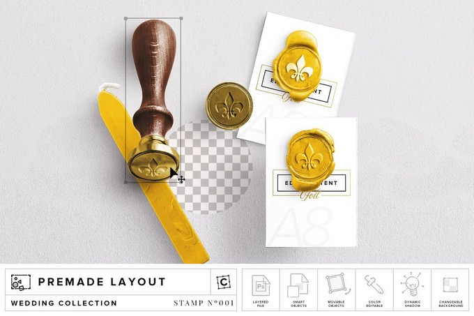 Wax Stamp & A8 Card Mockup PSD