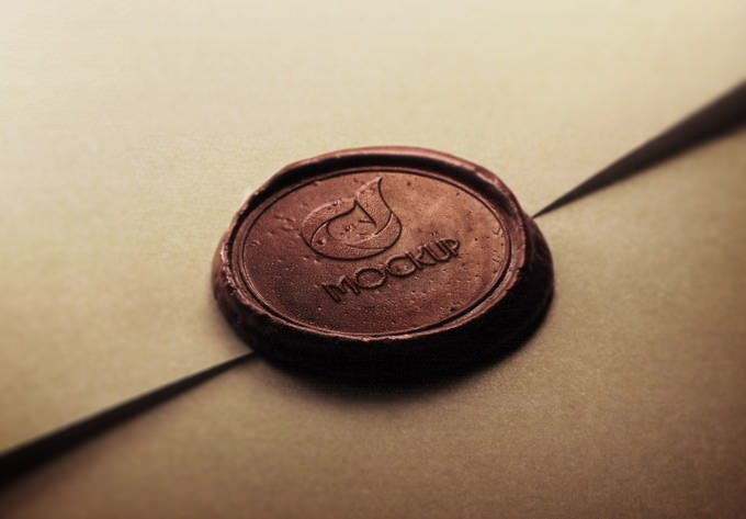 Wax Stamp Logo Mock-up PSD