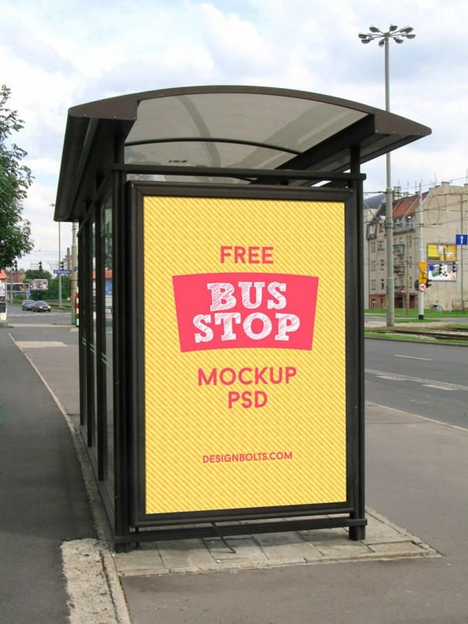 2 Free Outdoor Advertising Bus Shelter Mock-up