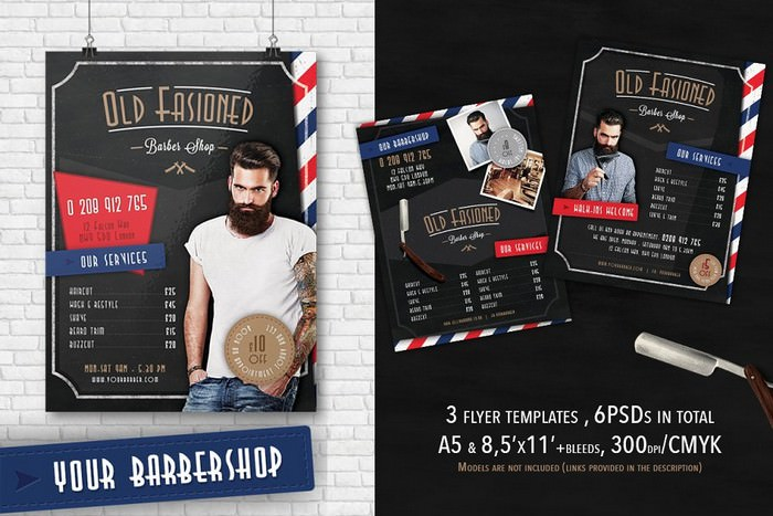 3 Barber Shop Flyer Template