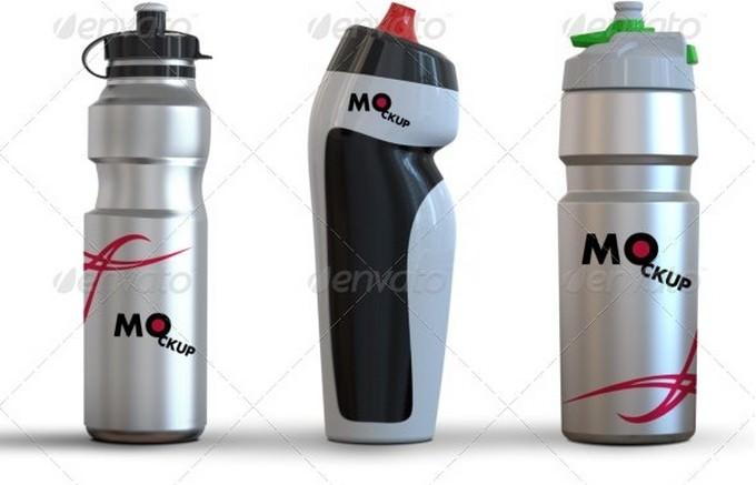 3 Drink Water Bottle Mockup