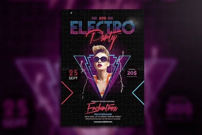 80's Electro Party Flyer PSD