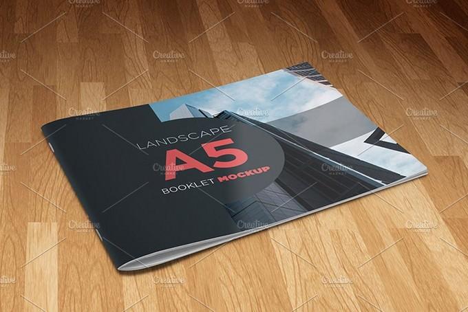 A5 Landscape Booklet Mockup PSD