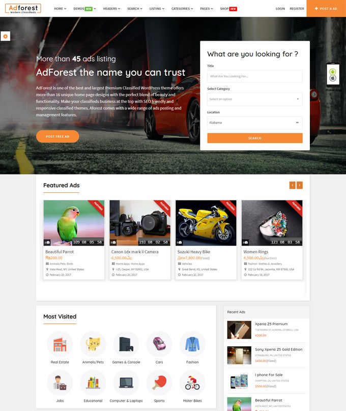 AdForest - Classified Ads Theme