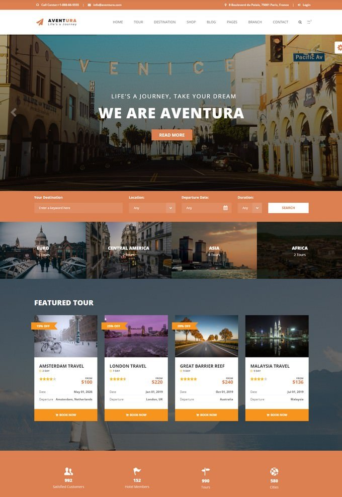 Aventura - Travel PHP WordPress Theme