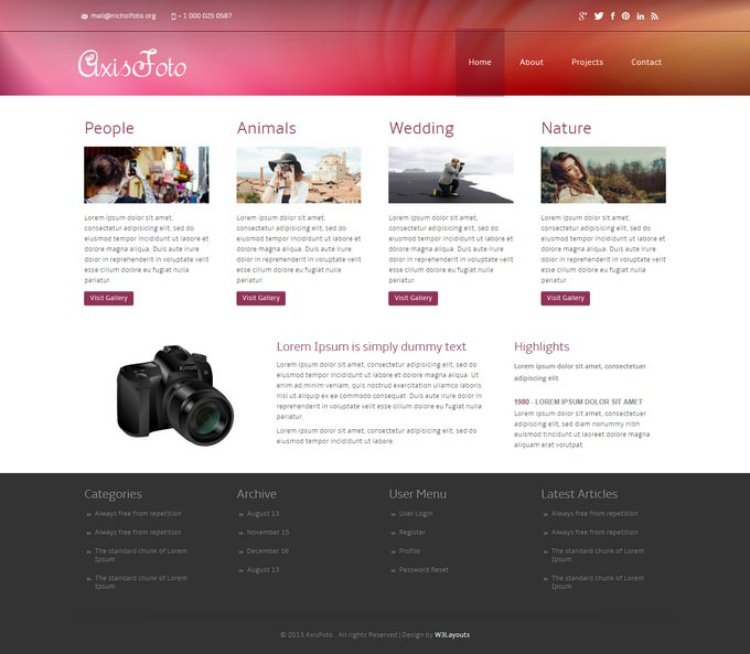 A Photo Gallery Website Template