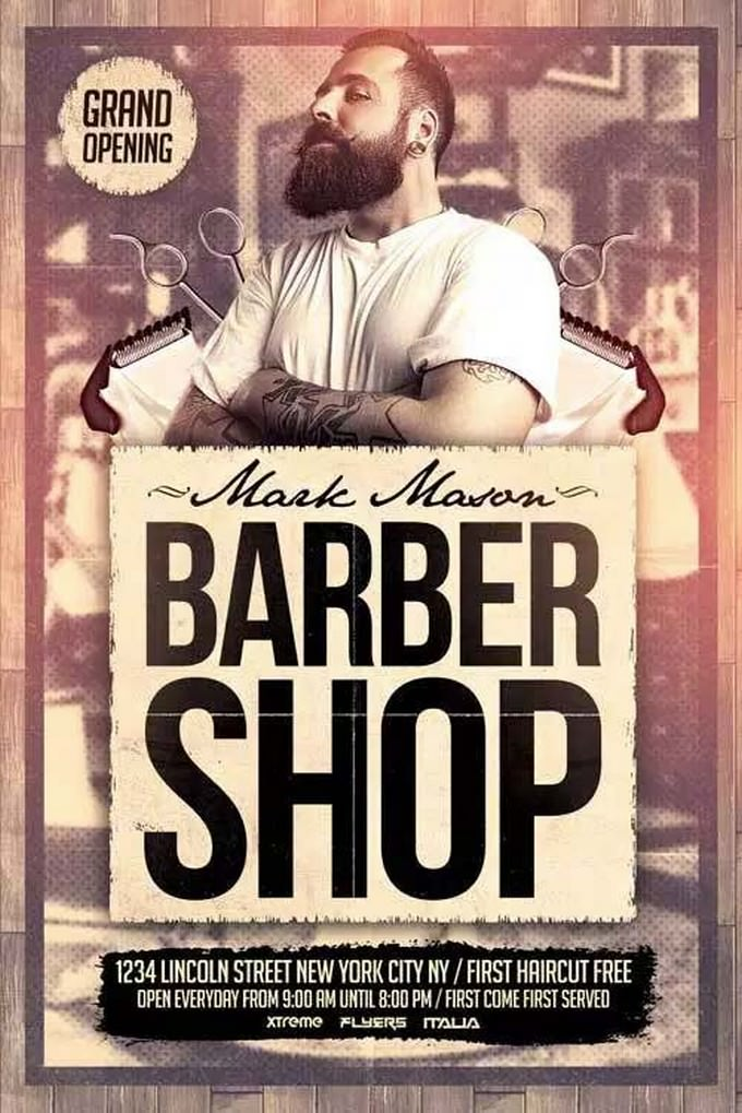 Barber Shop Free PSD Flyer