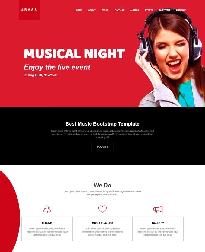 Bass Responsive Music Website Template