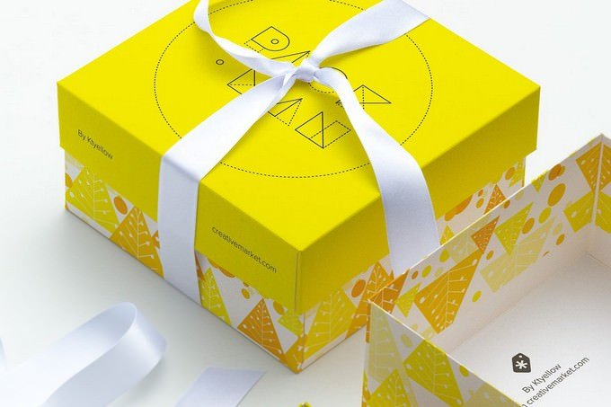 Big Gift Box Mockup PSD