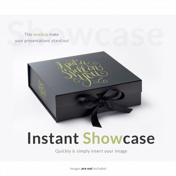 Black Gift Box Mock up PSD