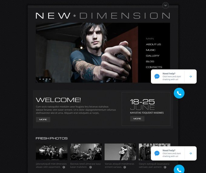 Black Website Template to Promote Music Events