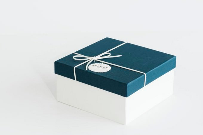 Blue - White Gift Box Mock-up PSD