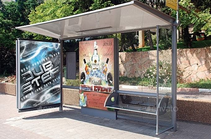 Realistic Bus Stop Poster Mockup