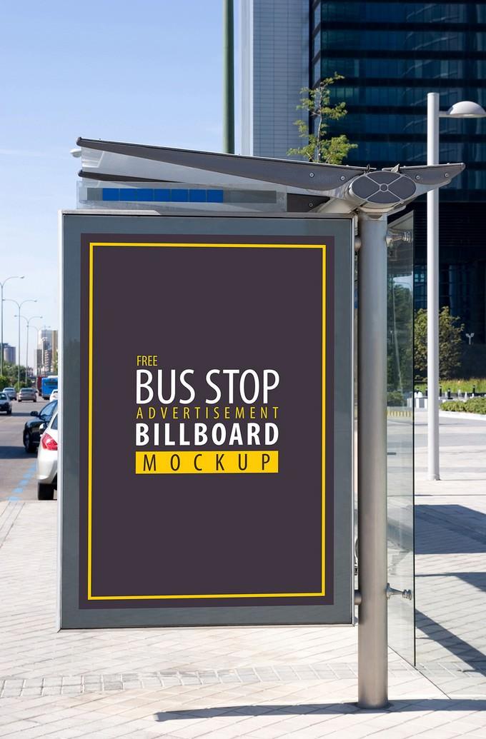 Bus Stop Advertisement Billboard Mockup