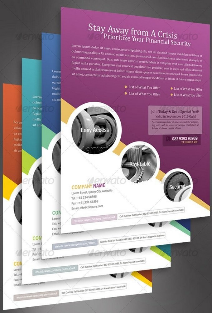 Business Flyer Template With 4 Color