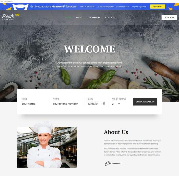 Restaurant Free Website Templates