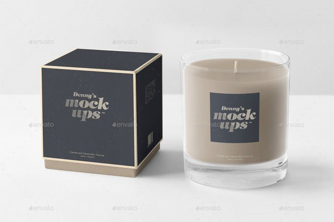 Candle in Gift Box Mockup PSD