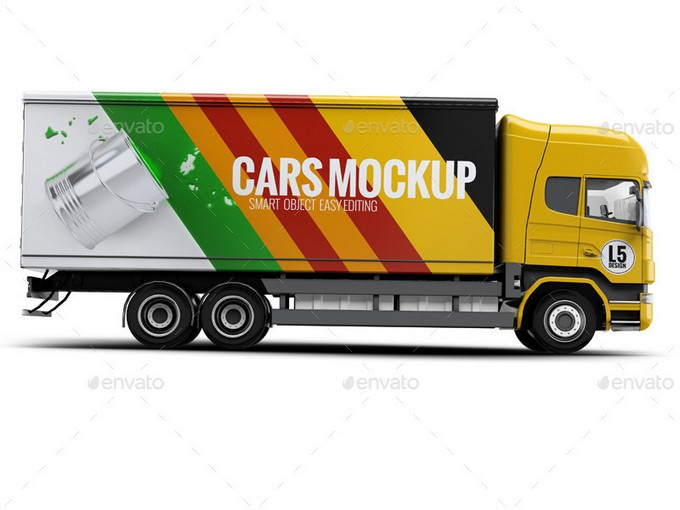 Cargo Truck Mock-Up PSD