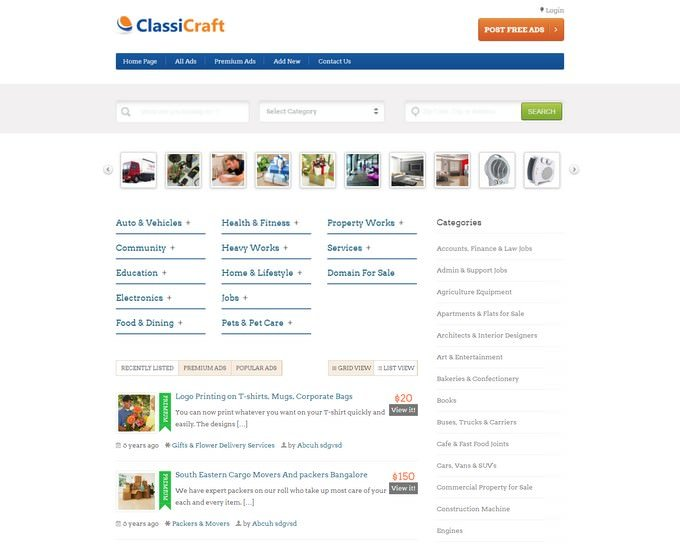 Classicraft WordPress Classified Ad Listing Theme