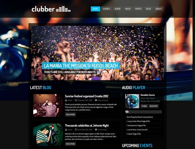 Clubber Music WordPress Theme