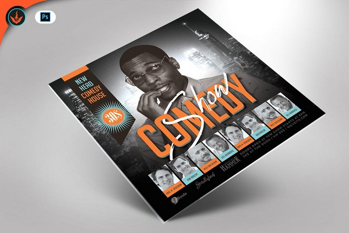 Comedy Show Square Flyer Template